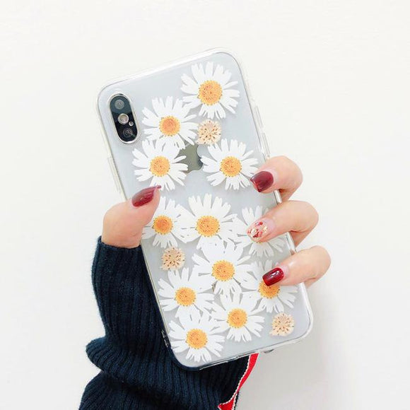 Simple Daisy Flower Strawberry Transparent Soft Phone Case Back Cover - iPhone 11/11 Pro/11 Pro Max/XS Max/XR/XS/X/8 Plus/8/7 Plus/7 - halloladies
