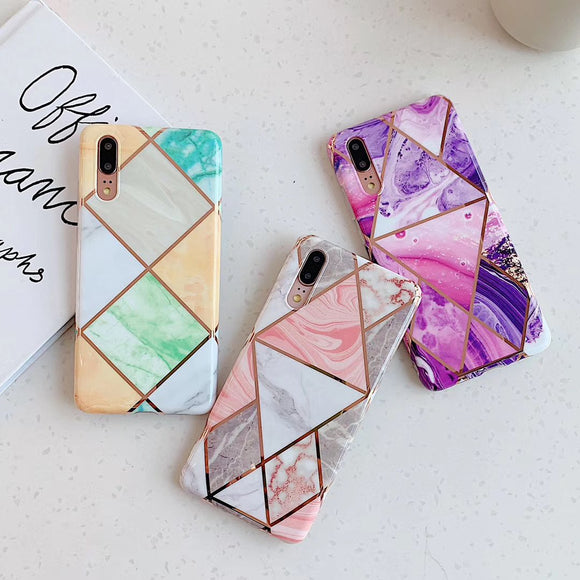 Electroplate Geometric Marble Soft Phone Case Back Cover for Huawei Mate 30/P30/P20/Mate 20 Pro/Lite - halloladies