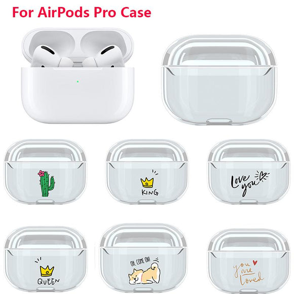 Cartoon Cute Pattern Transparent Wireless Bluetooth Earphone Cases for Airpods Pro - halloladies
