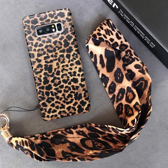 Retro Sexy Leopard with Lanyard Phone Case Back Cover for Samsung Galaxy S20 Ultra/S20 Plus/S20/S10E/S10 Plus/S10/S9 Plus/S9/S8 Plus/S8/Note9/Note8 - halloladies