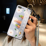 Daisy Flower Pattern Holder Silicone Wrist Strap Lanyard Soft TPU Phone Case Back Cover for iPhone XS Max/XR/XS/X/8 Plus/8/7 Plus/7/6s Plus/6s/6 Plus/6 - halloladies