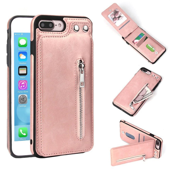 Fashion Zipper Leather Card Holder Wallet Phone Case Back Cover - iPhone XS Max/XR/XS/X/8 Plus/8/7 Plus/7/6s Plus/6s/6 Plus/6 - halloladies