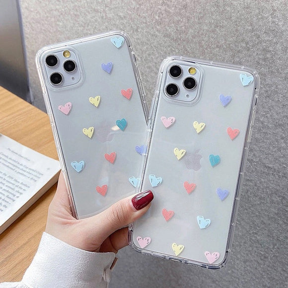 Transparent Heart Shaped Pattern Soft Phone Case Back Cover for iPhone 12 Pro Max/12 Pro/12/12 Mini/SE/11 Pro Max/11 Pro/11/XS Max/XR/XS/X/8 Plus/8 - halloladies