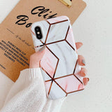 Electroplated Vintage Artistic Geometric Marble Phone Case Back Cover for iPhone 11 Pro Max/11 Pro/11/XS Max/XR/XS/X/8 Plus/8/7 Plus/7/6s Plus/6s/6 Plus/6 - halloladies