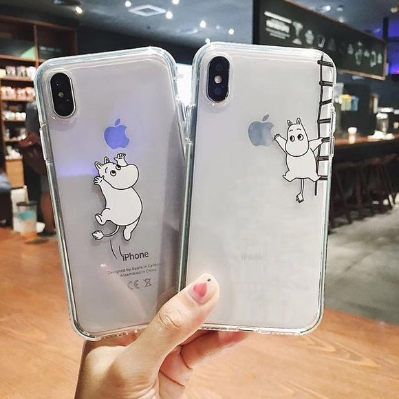 Cute Animal Clear Phone Case Back Cover for iPhone 11 Pro Max/11 Pro/11/XS Max/XR/XS/X/8 Plus/8/7 Plus/7 - halloladies