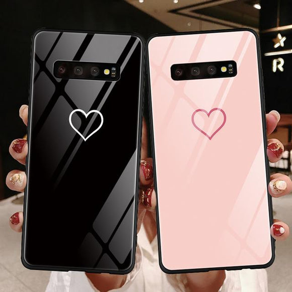 Solid Color Hollow Love Heart Tempered Glass Phone Case Back Cover for Samsung Galaxy S10E/S10 Plus/S10/S9 Plus/S9/S8 Plus/S8/Note 10 Pro/Note 10/Note 9/Note 8 - halloladies