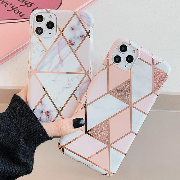 Plating Geometric Marble Phone Case Back Cover for iPhone 11 Pro Max/11 Pro/11/XS Max/XR/XS/X/8 Plus/8/7 Plus/7 - halloladies