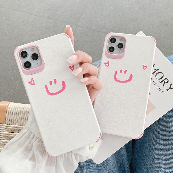 Cute Smile Love Heart Soft Leather Silicone Phone Case for iPhone 12 Pro Max/12 Pro/12/12 Mini/SE/11 Pro Max/11 Pro/11/XS Max/XR/XS/X/8 Plus/8 - halloladies
