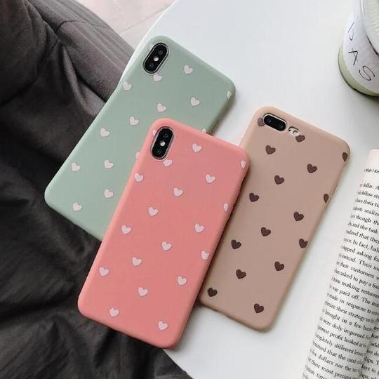Cute Solid Color Love Heart Soft Silicone Phone Case Back Cover for iPhone XS Max/XR/XS/X/8 Plus/8/7 Plus/7/6s Plus/6s/6 Plus/6 - halloladies
