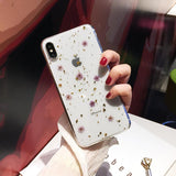 Real Flowers Gold Foil Clear Phone Case Back Cover - iPhone 11/11 Pro/11 Pro Max/XS Max/XR/XS/X/8 Plus/8/7 Plus/7 - halloladies
