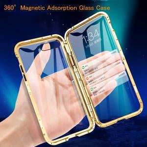 Front +Back 360 Magnetic Adsorption Metal Glass Clear Phone Case Back Cover for iPhone 11/11 Pro/11 Pro Max/XS Max/XR/XS/X/8 Plus/8/7 Plus/7 - halloladies