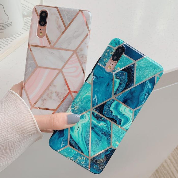 Electroplate Geometric Marble Soft TPU Phone Case Back Cover for Huawei Mate 30/P30/P20/Mate 20 Pro/Lite - halloladies