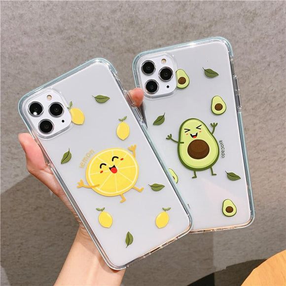 Cute Cartoon Lemon Avocado Transparent Soft Phone Case Back Cover for iPhone 12 Pro Max/12 Pro/12/12 Mini/SE/11 Pro Max/11 Pro/11/XS Max/XR/XS/X/8 Plus/8 - halloladies