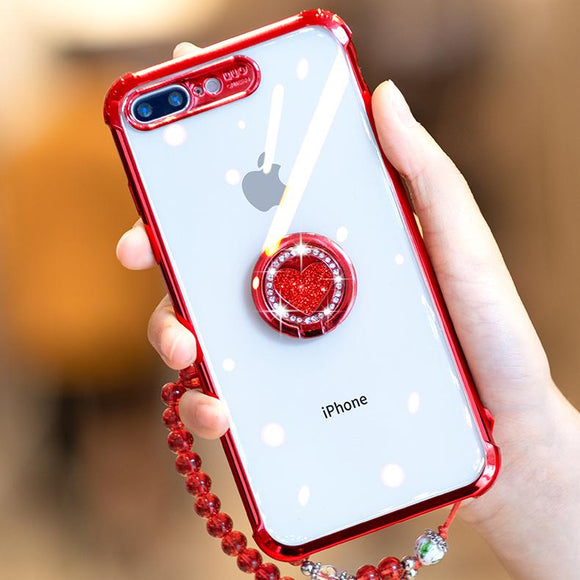 Luxury Diamond Love Heart Magnetic Finger Ring Stand Bracelet Phone Case Back Cover - iPhone 11/11 Pro/11 Pro Max/XS Max/XR/XS/X/8 Plus/8/7 Plus/7 - halloladies