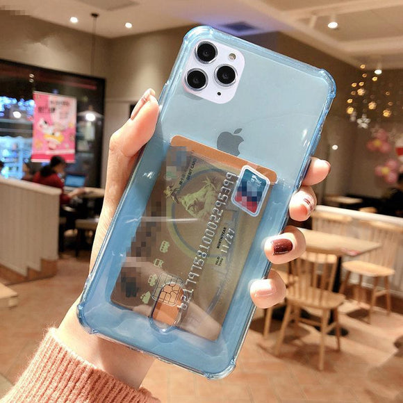 Solid Color Transparent Card Holder Soft Phone Case Back Cover - iPhone 12 Pro Max/12 Pro/12/12 Mini/SE/11 Pro Max/11 Pro/11/XS Max/XR/XS/X/8 Plus/8 - halloladies