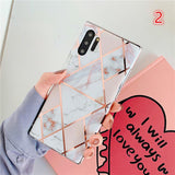 Plating Marble Geometric Patchwork Soft TPU Phone Case Back Cover for Samsung Galaxy Samsung S20 Ultra/S20 Plus/S20/S10E/S10 Plus/S10/S9 Plus/S9/S8 Plus/S8/Note 10 Pro/Note 10/Note 9/Note 8 - halloladies