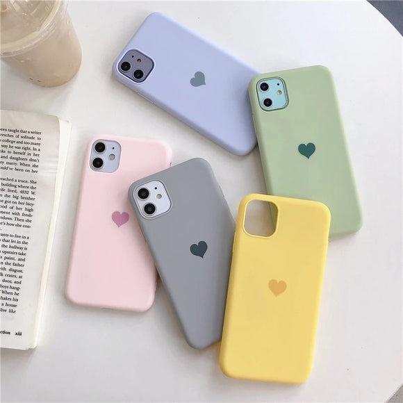 Candy Color Love Heart Phone Case Back Cover for iPhone 12 Pro Max/12 Pro/12/12 Mini/SE/11 Pro Max/11 Pro/11/XS Max/XR/XS/X/8 Plus/8 - halloladies