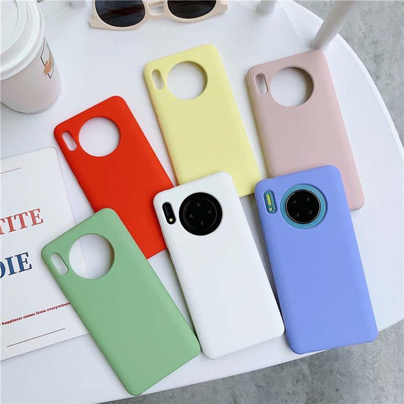 Simple Candy Color Soft Phone Case Back Cover for Huawei Mate 30/P30/P20/Mate 20 Pro/Lite - halloladies