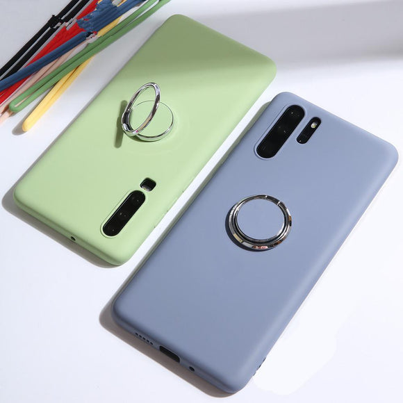 Magnetic Ring Holder Candy Color Silicone Phone Case Back Cover for OnePlus 7 Pro/7/6T/6 - halloladies
