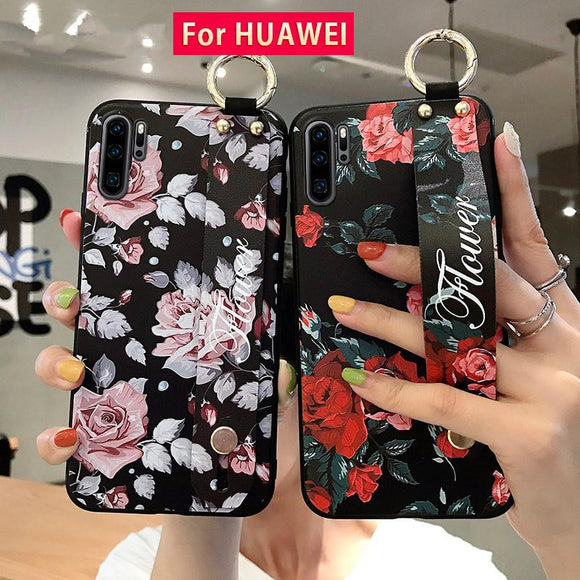 Retro Flower Wrist Strap Holder Black Phone Case Back Cover for Huawei Mate 30/P30/P20/Mate 20 Pro/Lite - halloladies