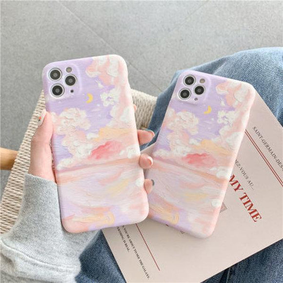 Literary Cloud Oil Painting Soft Phone Case Back Cover for iPhone 12 Pro Max/12 Pro/12/12 Mini/SE/11 Pro Max/11 Pro/11/XS Max/XR/XS/X/8 Plus/8 - halloladies