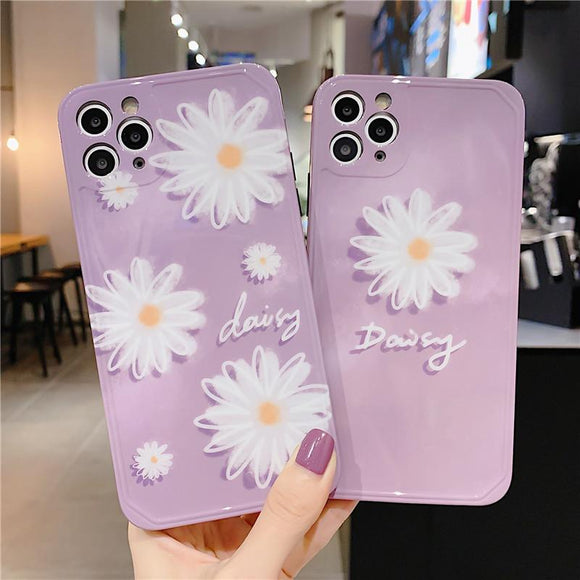 Soft Purple Daisy iPhone Case Back Cover for iPhone 12 Pro Max/12 Pro/12/12 Mini/SE/11 Pro Max/11 Pro/11/XS Max/XR/XS/X/8 Plus/8 - halloladies