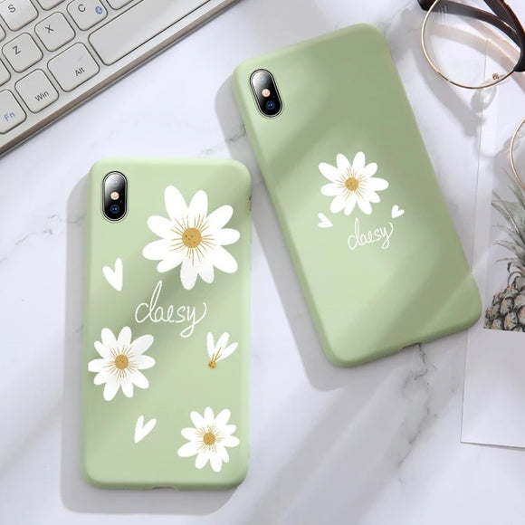 Simple Green Daisy Flower Soft Phone Case Back Cover for iPhone 12 Pro Max/12 Pro/12/12 Mini/SE/11 Pro Max/11 Pro/11/XS Max/XR/XS/X/8 Plus/8 - halloladies