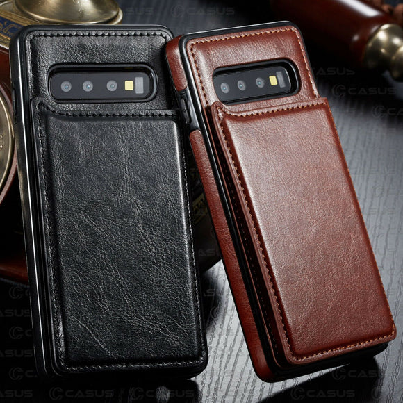 Leather Wallet Magnet Flip Card Slot Phone Case Back Cover - Samsung Galaxy S10E/S10 Plus/S10/S9 Plus/S9/S8 Plus/S8/Note 9/Note 8 - halloladies