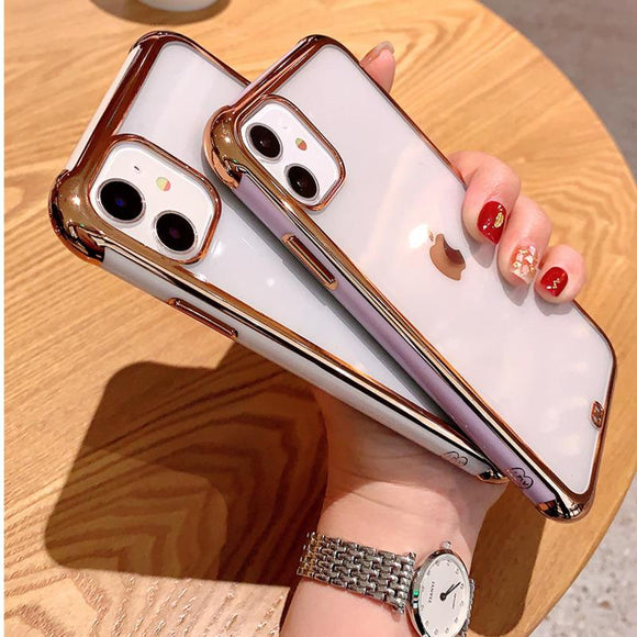 Transparent Electroplated Matte Soft Phone Case Back Cover for iPhone 12 Pro Max/12 Pro/12/12 Mini/SE/11 Pro Max/11 Pro/11/XS Max/XR/XS/X/8 Plus/8 - halloladies
