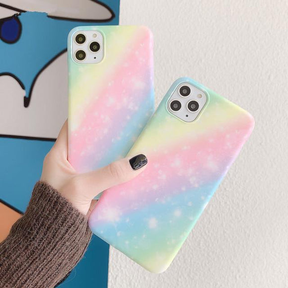Fashion Soft Candy Color Gradient Rainbow Phone Case Back Cover - iPhone 11 Pro Max/11 Pro/11/XS Max/XR/XS/X/8 Plus/8/7 Plus/7 - halloladies