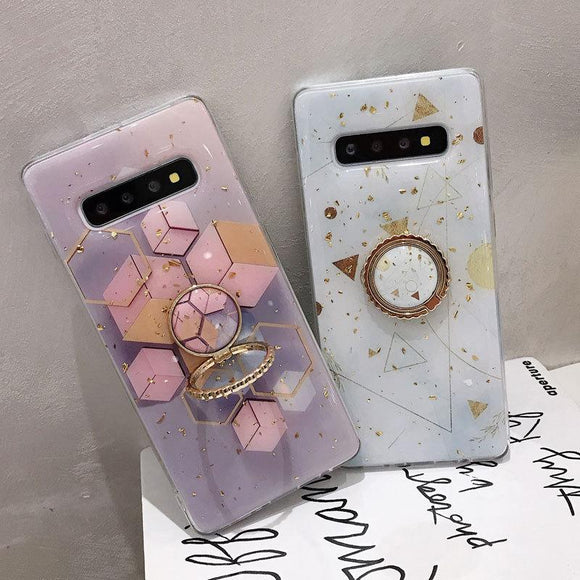 Gold Foil Geometric Marble Finger Ring Holder Soft Phone Case Back Cover - Samsung Galaxy S10E/S10 Plus/S10/S9 Plus/S9/Note 10 Pro/Note 10/Note 9/Note 8 - halloladies