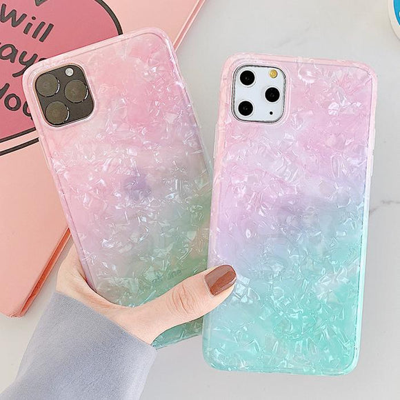 Dream Shell Gradient Rainbow Soft TPU Phone Case Back Cover for iPhone 11 Pro Max/11 Pro/11/XS Max/XR/XS/X/8 Plus/8/7 Plus/7 - halloladies