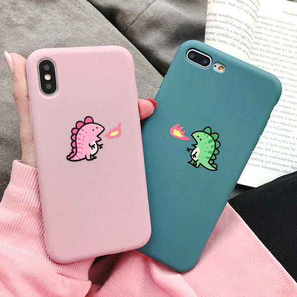 Cute Couple Fire Dragon Phone Case Back Cover - iPhone 12 Pro Max/12 Pro/12/12 Mini/SE/11 Pro Max/11 Pro/11/XS Max/XR/XS/X/8 Plus/8/7 Plus/7/6s Plus/6s/6 Plus/6 - halloladies