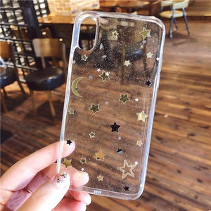 Glitter Moon Star Clear Phone Case Back Cover for iPhone 11/11 Pro/11 Pro Max/XS Max/XR/XS/X/8 Plus/8/7 Plus/7 - halloladies
