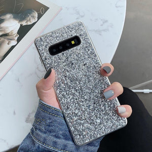 Simple Glitter Powder Phone Case Back Cover - Samsung Galaxy S10E/S10 Plus/S10/S9 Plus/S9/S8 Plus/S8, Samsung Note 9/Note 8 - halloladies