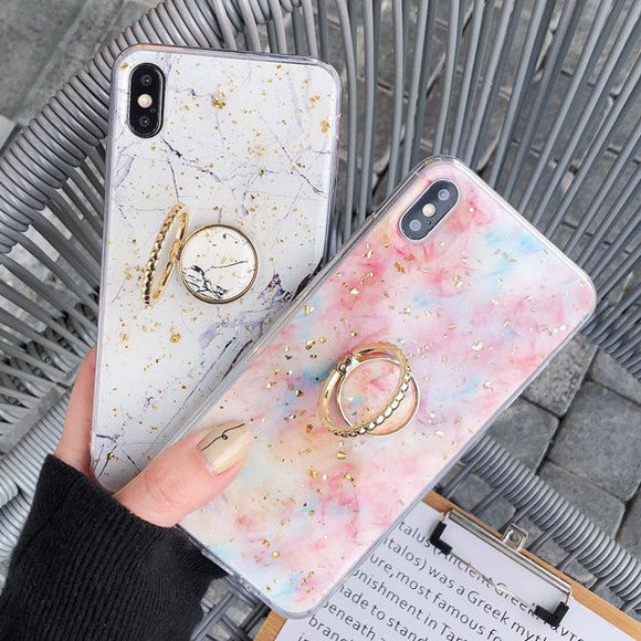 Luxury Gold Foil Marble Glitter Finger Ring Holder Soft Phone Case Back Cover - iPhone 11/11 Pro/11 Pro Max/XS Max/XR/XS/X/8 Plus/8/7 Plus/7 - halloladies