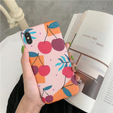 Cute Cherry Painting Phone Case Back Cover for iPhone SE/11 Pro Max/11 Pro/11/XS Max/XR/XS/X/8 Plus/8/7 Plus/7/6s Plus/6s/6 Plus/6 - halloladies