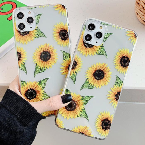 Cute Sunflowers Clear Soft TPU Phone Case Back Cover for iPhone 12 Pro Max/12 Pro/12/12 Mini/SE/11 Pro Max/11 Pro/11/XS Max/XR/XS/X/8 Plus/8 - halloladies
