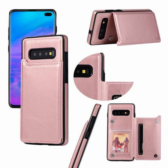 Leather Flip Wallet Photo Card Holder Phone Case Back Cover - Samsung Galaxy S10E/S10 Plus/S10/S9 Plus/S9/S8 Plus/S8/Note 8/Note 9 - halloladies