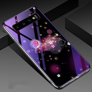 Romantic Flower Tempered Glass Phone Case Back Cover - Samsung Galaxy S10E/S10 Plus/S10/S9 Plus/S9/S8 Plus/S8, Samsung Note 10 Pro/Note 10/Note 9/Note 8 - halloladies