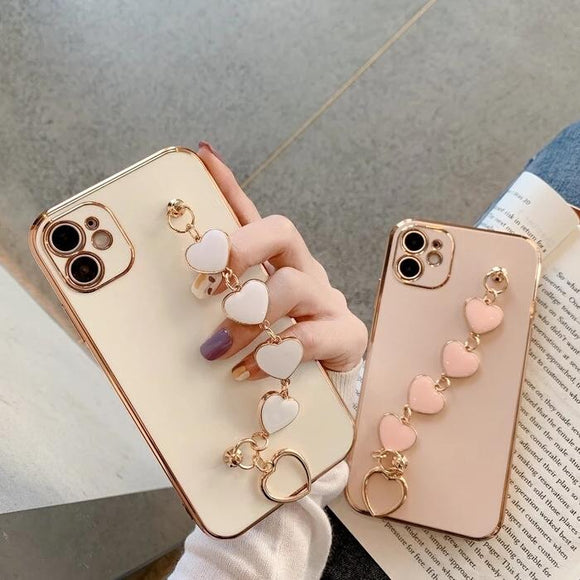 Electroplated Heart Bracelet Hand Strap Soft Phone Case Back Cover for iPhone 12 Pro Max/12 Pro/12/12 Mini/SE/11 Pro Max/11 Pro/11/XS Max/XR/XS/X/8 Plus/8 - halloladies