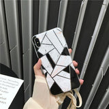 Artistic Geometric Marble Phone Case Back Cover for iPhone 11 Pro Max/11 Pro/11/XS Max/XR/XS/X/8 Plus/8/7 Plus/7/6s Plus/6s/6 Plus/6 - halloladies