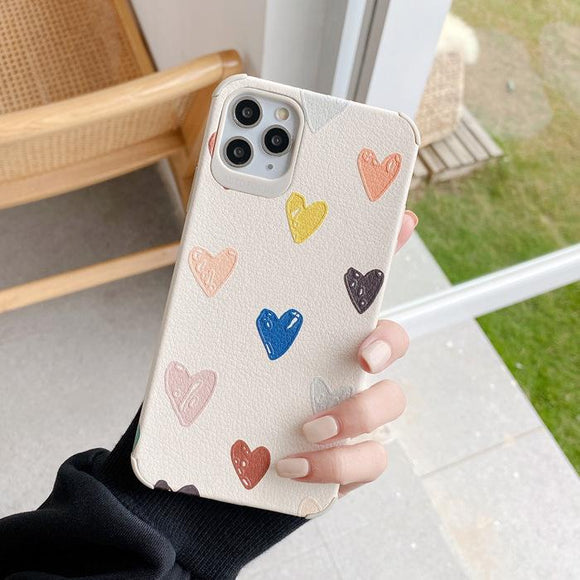 Scrawl Colorful Love Heart PU Soft Phone Case Back Cover for iPhone 12 Pro Max/12 Pro/12/12 Mini/SE/11 Pro Max/11 Pro/11/XS Max/XR/XS/X/8 Plus/8 - halloladies