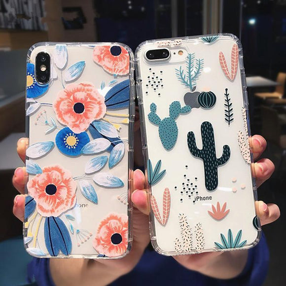 Classical Flowers & Cactus Transparent Soft TPU Phone Case Back Cover for iPhone 12 Pro Max/12 Pro/12/12 Mini/SE/11 Pro Max/11 Pro/11/XS Max/XR/XS/X/8 Plus/8 - halloladies