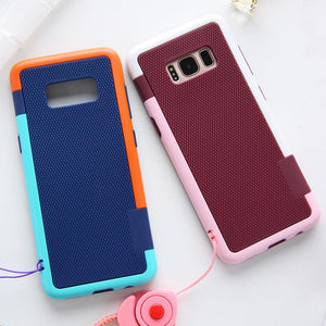 Contrast Color Grid Texture Lanyard Strap Soft Phone Case Back Cover for Samsung Galaxy S10E/S10 Plus/S10/S9 Plus/S9/S8 Plus/S8/Note 10 Pro/Note 10/Note 9/Note 8 - halloladies