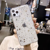 Clear Electroplated Dot Star Love Heart Phone Case Back Cover - iPhone 11 Pro Max/11 Pro/11/XS Max/XR/XS/X/8 Plus/8/7 Plus/7 - halloladies