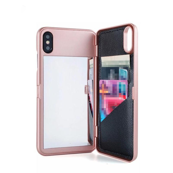 Card Slot Wallet Make Up Mirror Phone Case Back Cover - iPhone XS Max/XR/XS/X/8 Plus/8/7 Plus/7/6s Plus/6s/6 Plus/6 - halloladies