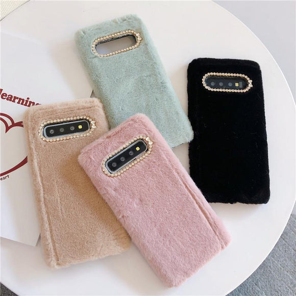 Simple Solid Color Winter Warm Short Plush Soft Phone Case Back Cover - Samsung Galaxy S10E/S10 Plus/S10/S9 Plus/S9/S8 Plus/S8/Note 10 Pro/Note 10/Note 9/Note 8 - halloladies