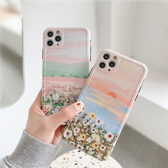 Artistic Oil Painting Flowers Frame Camera Protector Soft Phone Case Back Cover for iPhone 12 Pro Max/12 Pro/12/12 Mini/SE/11 Pro Max/11 Pro/11/XS Max/XR/XS/X/8 Plus/8 - halloladies