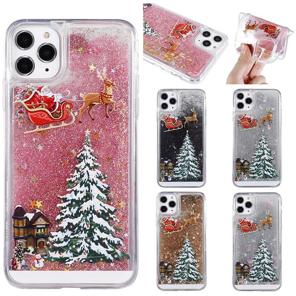 Cartoon Liquid Quicksand Christmas Tree Santa Elk Phone Case Back Cover - Samsung Galaxy S10E/S10 Plus/S10/S9 Plus/S9/S8 Plus/S8/Note 10 Pro/Note 10/Note 9/Note 8 - halloladies